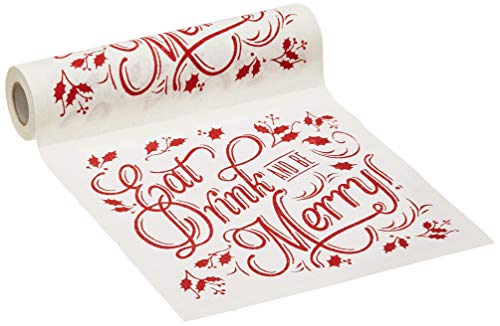 (Linen Printed Luncheon Napkin - 8.0 x 8.0 in - 20 units per roll - Ecru with Red  - Eat Drink & Be Merry)
