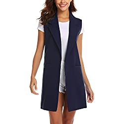 Showyoo Women's Long Sleeveless Duster Trench Vest Casual Lapel Blazer Jacket Navy Blue S