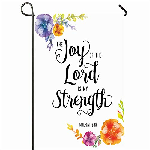 Ahawoso Outdoor Garden Flags 12x18 Inch Feminine Quote Joy Lord My Strength Scripture Positive Orange Love Christian Script Bible Design Vertical Double Sided Home Decorative House Yard Sign