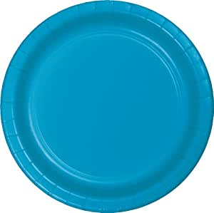 Creative Converting Touch of Color 24 Count Paper Lunch Plates, Turquoise