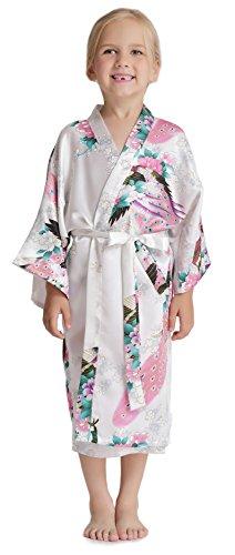 Aibrou Girls' Peacock Satin Kimono Robe Bathrobe Nightgown For Party Wedding, White, 14