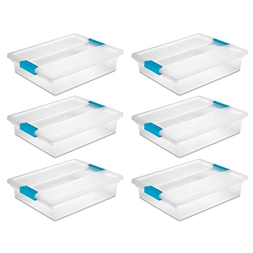 Large Box E-commerce (Sterilite 19638606 Large Clip Box, Clear with Blue Aquarium Latches, 6-Pack)