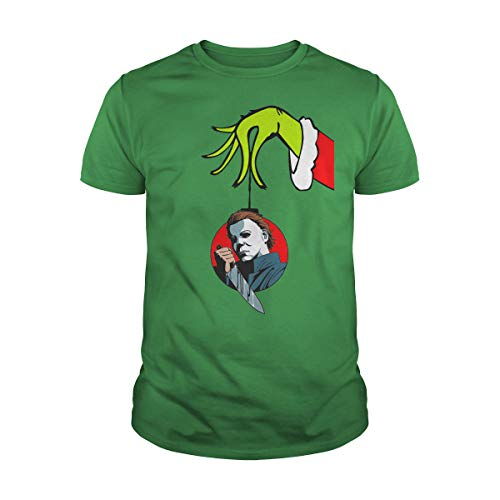Men's Grinch Arm Holding Ornament Michael Myers T-Shirt (5XL, Green)]()