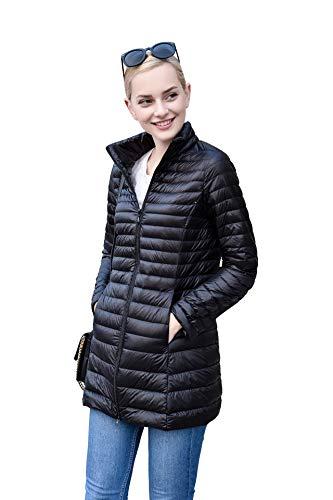 (ELFJOY Women's Ultralight Packable Long Puffer Down Jacket Black M)