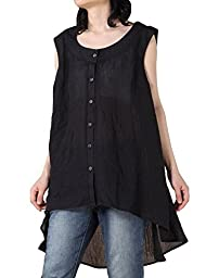 Mordenmiss Women\'s New Front Buttons Sleeveless Clothing Hi-Low Hemline Blouse (X-Large, Black)