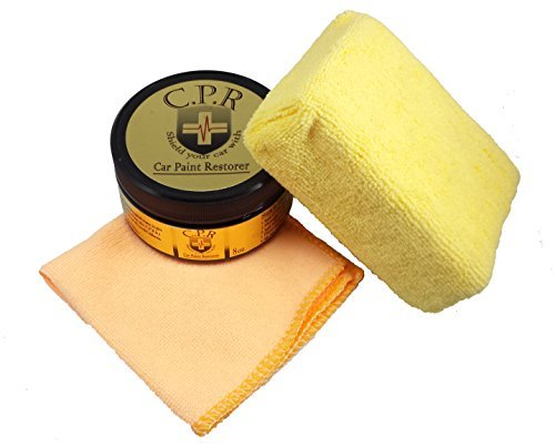 C.P.R - 8oz. All Natural Hard Car Wax - Microfiber Applicator Sponge Yellow & Microfiber Towel Orange