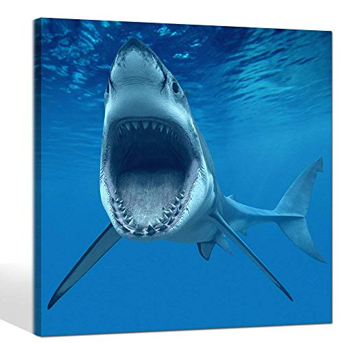 Live Art Decor- Big Shark Near Sea Surface Open Mouth In Blue Sea Wall Art Painting Animal Pictures Photo to Canvas Art for Home Decor Decoration Framed (Sea Art Open)