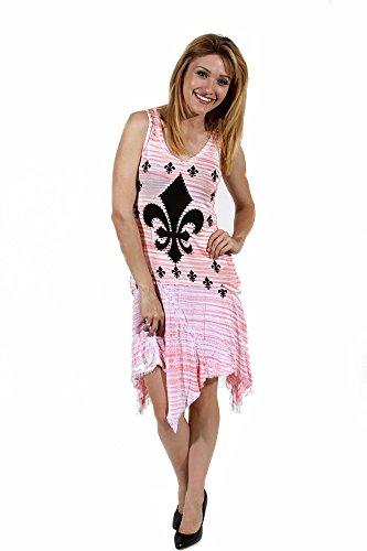 Vocal Apparel Coral Fleur-de-Lis Striped Pink Soft Stretchy Asymmetrical Frayed Skirt Sleeveless Dress (Fleur De Lis Skirt)