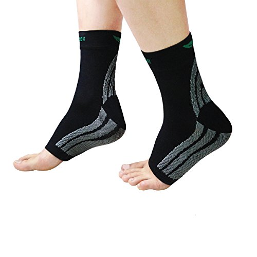 HLYOON W01 Plantar Fasciitis Socks Foot Compression Sleeves (1 Pair) with Arch Support,Lightweight Ankle Braces, Eases Swelling to Relieve Pain(L)