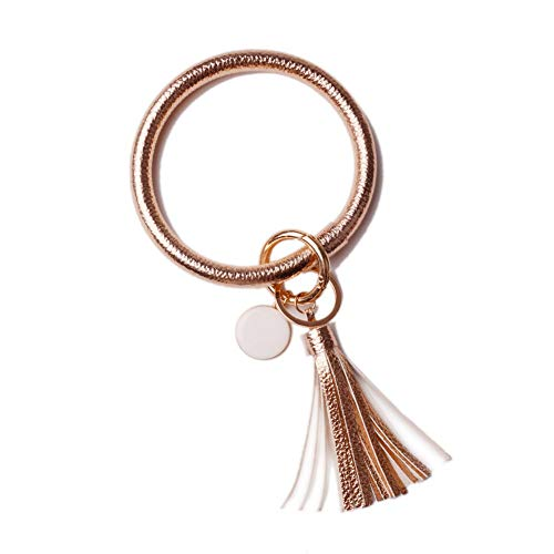 - L&N Rainbery PU Leather O Key Chain Circle Tassel Wristlet Keychain for Women Girls (Rose Gold Tassel #2)
