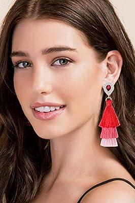 Long Tassel Earrings for Women Bohemian Drop Earrings Rhinestone Gold Teardrop Dangle Earrings 3 Layered Multi Color Fringe Earrings Girls