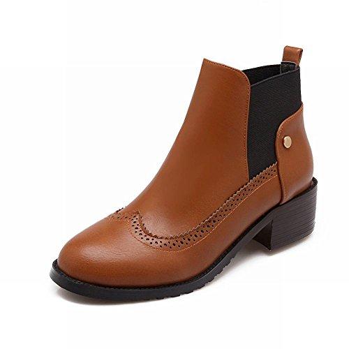 Latasa Damesmode Chunky Mid-heel Enkellaagse Chelsea Boots Donkergeel