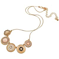 D EXCEED Handmade Etched Stretch Gold Enamel Flower Crystal Rhinestone Necklace Bracelet Set for Women