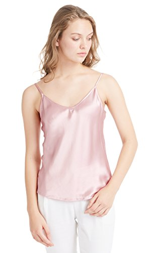 LilySilk Womens Silk Camisole 100 Pure Mulberry Silk Tank Tops & Ladies Cami Top with Soft Satin Rosy Pink XL/14-16