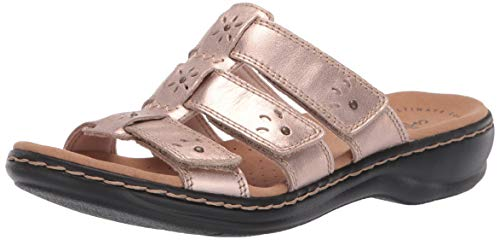 CLARKS Women's Leisa Spring Sandal, Rose Gold Leather, 110 M US ()