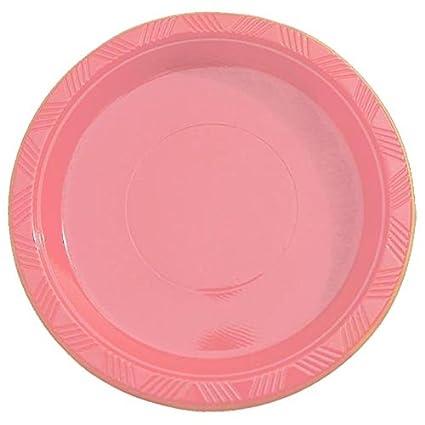 Exquisite 7 Inch. Pink Plastic Dessert/Salad Plates - Solid Color Disposable Plates -  sc 1 st  Amazon.com & Amazon.com: Exquisite 7 Inch. Pink Plastic Dessert/Salad Plates ...