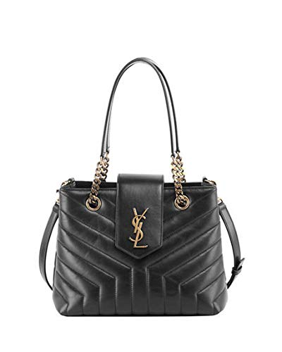 0ec33f3928 Amazon.com  Saint Laurent Monogram YSL Loulou Small Quilted Leather Tote Bag  - Lt. Bronze Hardware Made in Italy (Black)  Shoes