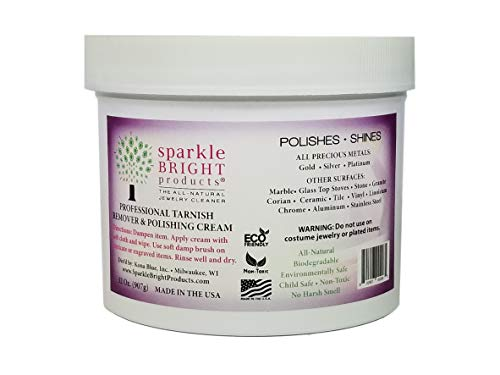 Sparkle Bright All-Natural Jewelry Cleaner – Tarnish Remover and Polishing Cream - 32 oz | Gold, Silver Jewelry Cleaning