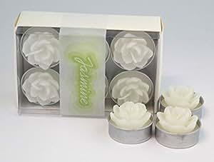 "'Portavelas ""Jazmín Flores–Color Blanco 6Box 8x 12,5x 4,5cm nuevo Vela de cera decorativa vela perfumada"