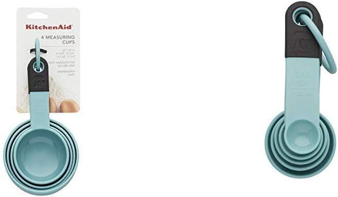 KitchenAid KE058OHAQA Classic Measuring Cups, Set of 4, Aqua Sky/Black and Classic Measuring Spoons, Set of 5