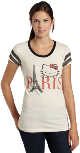 Mighty Fine Juniors Bonjour Paris Kitty T Shirt,Linen/Black,Small