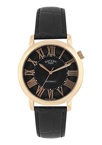 Rotary Men's Gle000012/10 Automatic Watch Rose Gold Tone Black Leather Strap