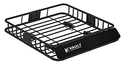 """Universal Roof Basket by Vault Cargo Management - Heavy Duty Cargo Roof Carrier Rack ideal for hauling luggage, spare tire, and camping gear - Roof Rack for SUV / Truck / Car (L 44"""" x W 39"""" x H 5"""")"""