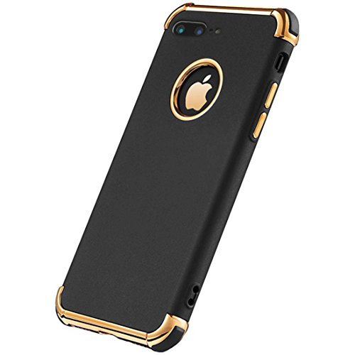 iPhone 8 Plus Case, Ultra Slim Flexible iPhone 8 Plus Matte Case, Styles 3 in 1 Electroplated Shockproof Luxury Cover Case, Magnetic Phone Case for iPhone 8 Plus (Black)