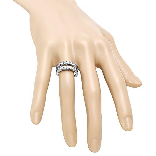 0.90 Carat (ctw) 10K White Gold Princess White Diamond Ladies Wedding Guard Double Ring (Size 7) by DazzlingRock Collection (Image #5)