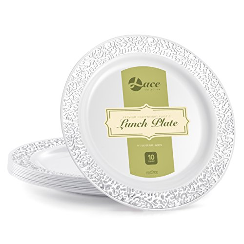 LACE PLASTIC PARTY DISPOSABLE PLATES | 9 Inch Hard Round Wedding Plates for Dinner / Lunch | White with Silver Rim, 20 Pack | Elegant & Fancy Party Supplies Plates for all Holidays & Occasions