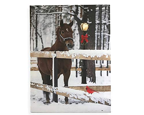 BANBERRY DESIGNS Horse Picture - LED Lighted Canvas Wall Print with Horse in Snow - Chestnut Horse with Red Cardinal and Lantern Light ()