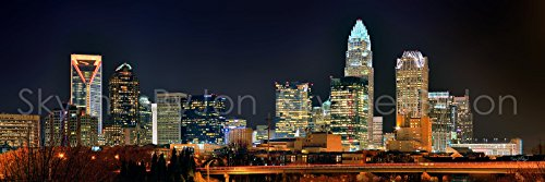 Charlotte Skyline PHOTO PRINT UNFRAMED NIGHT COLOR Skyline 11.75 inches x 36 inches Queen City Downtown Photographic Panorama Poster Picture Standard Size