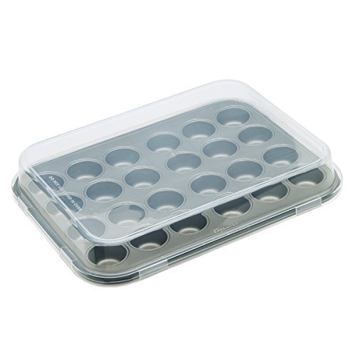 "Ecolution Bakeins 24 Mini Muffin and Cupcake Pan with Lid – PFOA, BPA, and PTFE Free Non-Stick Coating – Heavy Duty Carbon Steel – Dishwasher Safe – Gray – 13.5"" x 10.25"" x .75"", With Lid (Stainless Steel Mini Muffin Pan)"