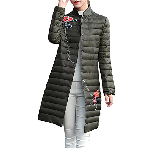 Gaorui Women's Cloak Duck Down Lightweight Long Puffer Jacket Stand Collar Padded Coat Flower Printed Quilted Slim Fit Stand Collar Green