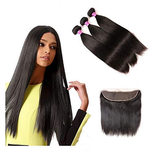 Blowing Straight Human Hair 3 Bundles with Frontal Brazilian Virgin Hair 13×4 Ear to Ear Lace Frontal with Bundles 8a Straight Human Hair Weave with Frontal Natural Color (18 20 22+16, Frontal)
