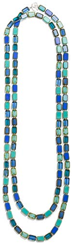 Long Beaded Necklace in Turquoise Sapphire Royal Navy Aqua Teal Ocean Blue for Women, Rectangular Glass Tile Beads, 60