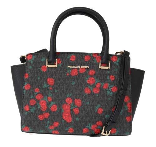 Michael Kors Selma Saffiano Leather Medium Top Zip Satchel Bag - Floral Black/Red