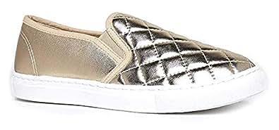 ShoBeautiful Womens Fashion Sneaker Gold Size: 6