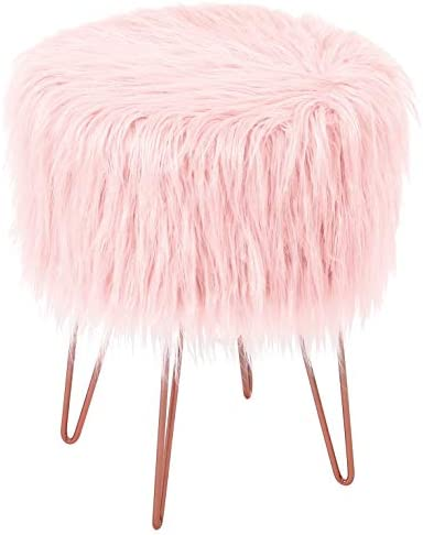 BirdRock Home Pink Faux Fur Vanity Stool Chair Soft Furry Compact Padded Seat
