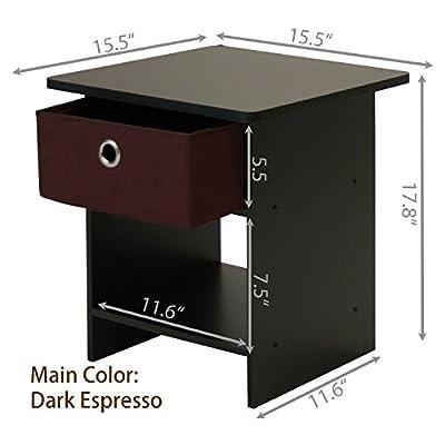 Furinno 2-10004DWN End Table/Night Stand Storage Shelf with Bin Drawer, 2-Pack, Dark Walnut