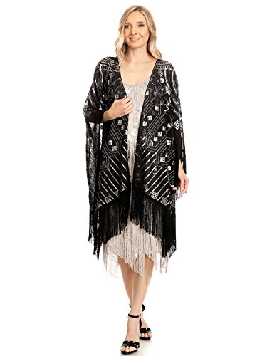 Anna-Kaci Womens Oversized 1920s Hand Beaded Fringed Sequin Evening Shawl Wrap, Black, Onesize (Shawl With Fringe)