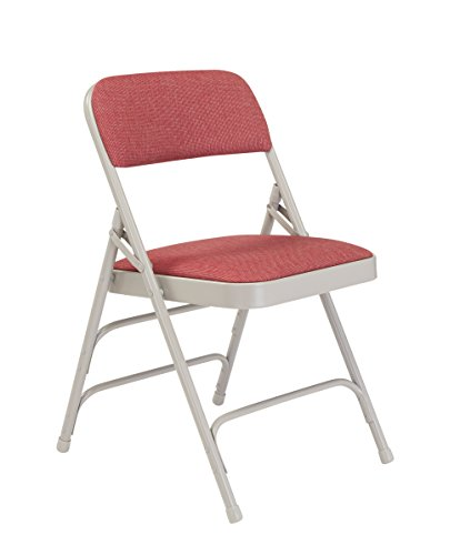 (National Public Seating 2300 Series Steel Frame Upholstered Premium Fabric Seat and Back Folding Chair with Triple Brace, 480 lbs Capacity, Majestic Cabernet/Gray (Carton of 4))