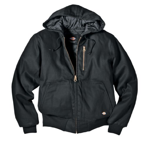 - Dickies Men's Rigid Duck Hooded Jacket, Black, X-Large