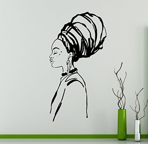 African Woman Wall Vinyl Decal Sticker Ethnic Hairstyle Girl Design Home Interior Art Decor Ideas Bedroom Living Room Office Removable Housewares (Ideas For Hairstyles)