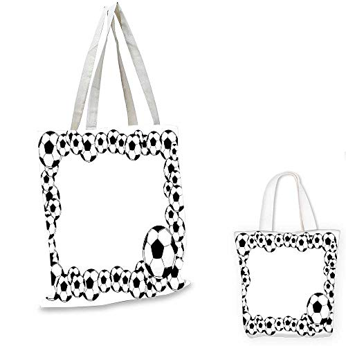 (Soccer non woven shopping bag Monochrome Football Frame Pattern Abstract Illustration Playing Sports Game small tote shopping bag White Charcoal Grey. 14