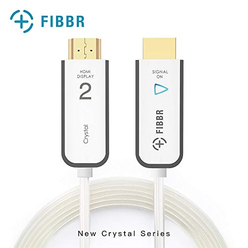 FIBBR Crystal HDMI 2.0 Cable 4K Ultra HD - Fiber Optic HDMI Cable High Speed HDR10 Hdcp 2.2 Slim Flexible Hdmi Cable for HDTV, Xbox, Blue-Ray Player, PS4 PS4Pro, PC, Apple TV, 9.9ft