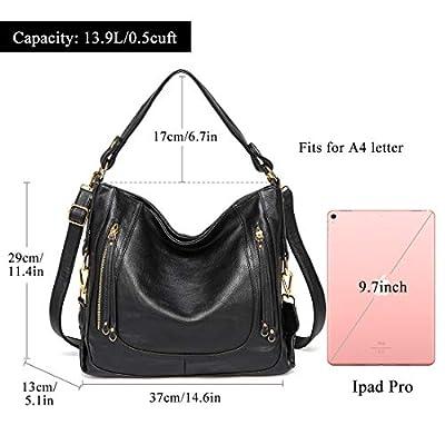 Kasqo Women Handbag, Leather Hobo Bag Large Shoulder Bag Top Handle Bag with Detachable Shoulder Strap for Work, Daily Use