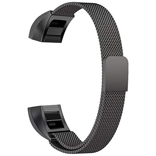 Oitom for Fitbit Alta HR Accessory Band and for Fitbit alta Band, (2 Size) Large 6.7-9.3 Small 5.1-6.7 (8 Color) Silver Black Rose Gold Pink Blue Brown Rainbow(Large 6.7-9.3 Black)