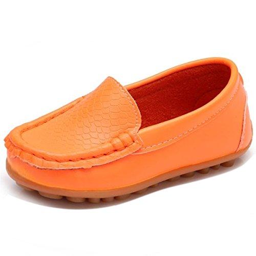 Orange Leather Footwear - L-RUN Boys Girls Deck Shoes Slip On Leather Shoes Orange 12.5 M US Little Kid