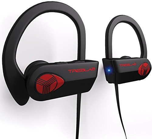 (TREBLAB XR500 Bluetooth Headphones, Best Wireless Earbuds for Sports, Running or Gym Workout. 2018 Updated Version. IPX7 Waterproof, Sweatproof, Secure-Fit Headset. Noise Cancelling Earphones w/)